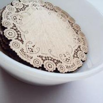 doily coasters by uncommon on Etsy