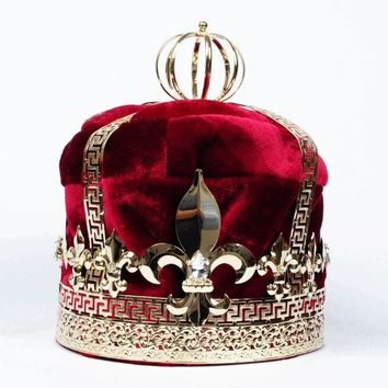 "Men's 9"" Red Velvet Crown Imperial Medieval Tiaras Fleur De Lis Large Full Round King Cosplay Party Costumes"