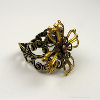 Adjustable Filigree Flower Ring with Mixed Metals, Vintage Style
