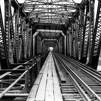 "Industrial Art Photography - iron railroad bridge perspective wall art ""The Other Side"" / custom sizes and canvas wraps available 20% OFF"
