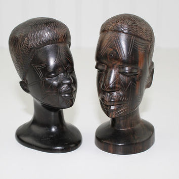 Pair of African Head Carvings, Hand Carved Wood Statue, Wooden Busts, African Wood Carving