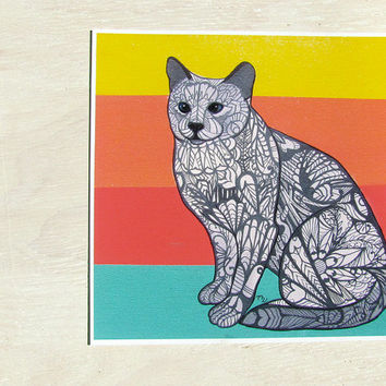 Siamese Cat Zentangle Art Print -  Archival Limited Edition
