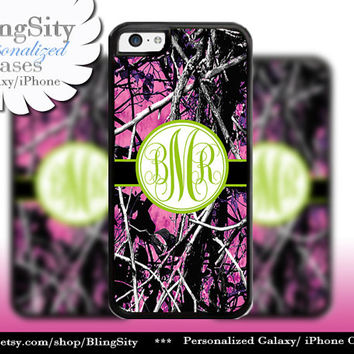 Camo Green Monogram iPhone 5C 6 Plus Case iPhone 5s 4 case Ipod Apple muddy Realtree Personalized Country Inspired Girl