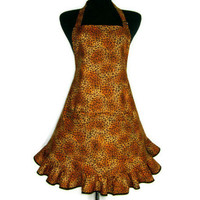 Leopard Print Apron , Full Retro Style Flounce Ruffle with Adjustable with Pocket