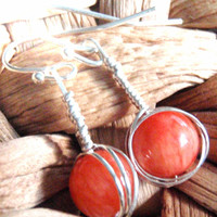 Orange Jade Sterling Silver Wire Wrapped Earrings