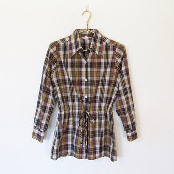 Vintage 1970s Laura Mae / Preppy Long Sleeved Plaid Button-down Shirt / Blouse w/ Drawstring Waist