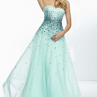 Strapless Beaded Prom Dress by Mori Lee