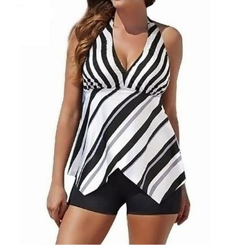Black White Stripes Plus Size Retro Halter Two piece Tankini Swimwear Bathing Suit Swimsuits