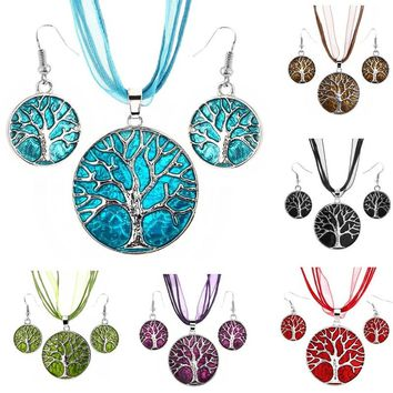 Tribal Tree of Life Ribbon Chain Leather Rope Round Stud Earrings African Beads Jewelry Set