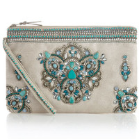 Jaipur Gem Zip Top Clutch Bag | Blue | Accessorize