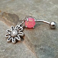 Flower Fire Opal Pink Belly Ring Navel Ring Surgical Stainless Steel 14ga