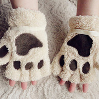 FREE Shipping Cat Paw Fingerless Gloves Mittens with Velvet Bows
