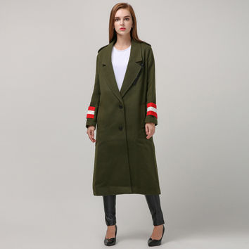 [TWOTWINSTYLE] 2017 Autumn Winter New Army green Long Trench Women Coat Hit Color Cuffs Streetwear Fashion