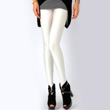 Solid Color Leggings - White