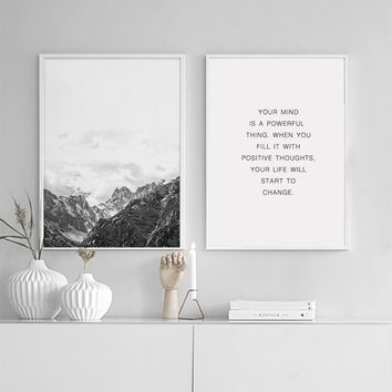 900d Nordic Style Mountain Canvas Art Print Painting Poster, Wall Pictures for Home Decoration, Wall Decor BW002