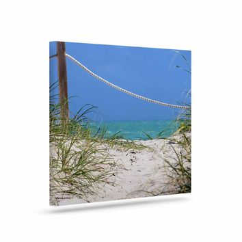 "Philip Brown ""Beach Access Miami Beach"" Red Multicolor Art Deco Fantasy Illustration Painting Art Canvas"