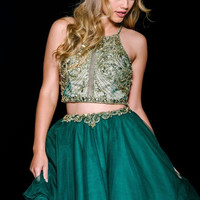 Green Open Back Fit and Flare Homecoming Jovani Dress 47449