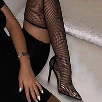 Fashionable women's cool boots summer pointed mesh hollow knee high-heeled boots