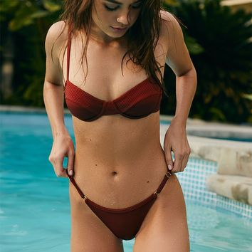 LA Hearts Brown Harper Slider Bikini Bottom | PacSun