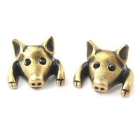 Piglet Pig Realistic Animal Stud Earrings in Brass | Animal Jewelry