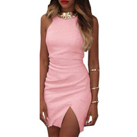 Summer Women Sleeveless Short Mini Dress Split Bodycon Party Club A-Line Dress Red Pink Black LL2