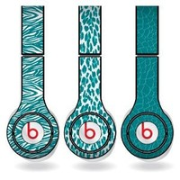 Teal Animal Print Set of 3 Headphone Skins for Beats Solo HD Headphones - Removable Vinyl Decal!