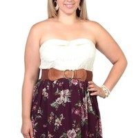 Plus Size Strapless Lace Floral Printed Belted Casual Dress
