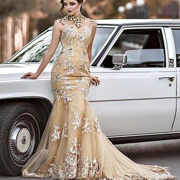 Gold Luxury Backless Mermaid Evening Dresses 2018 Diamond Sequined High Neck Tulle Evening Gowns LA6376