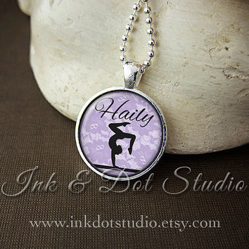 Personalized Gymnast Necklace, Gymnast Silhouette Pendant, Gymnastics Necklace, Personalized Gymnastics Gift, Choose Your Color!