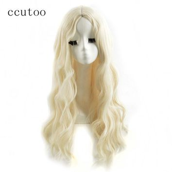 ccutoo 70cm Alice in Wonderland White Queen Blonde Long Curly Synthetic Hair Cosplay Wigs Halloween Chrismas Party Costume Wigs