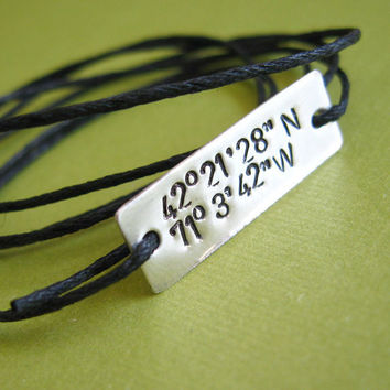 Latitude and Longitude bracelet -customized- Sterling Silver & cotton cord- tied on