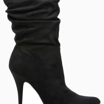 Black Faux Suede Pointed Toe Slouch Booties @ Cicihot Boots Catalog:women's winter boots,leather thigh high boots,black platform knee high boots,over the knee boots,Go Go boots,cowgirl boots,gladiator boots,womens dress boots,skirt boots.