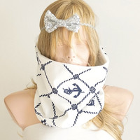 Navy Cotton Dark Blue and White Scarf, Neckwarmer, reversible, unisex
