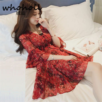 Women dress elegant floral chiffon dress lady half flare sleeve cute v neck kimono sexy dress Eleagnt sash wrap maxi dresses