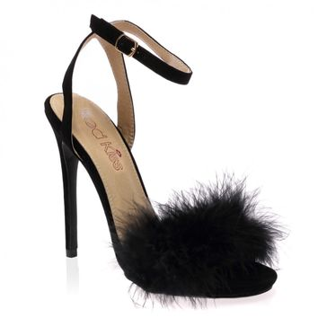 Lulu Black Faux Suede Fluffy Heeled Sandals