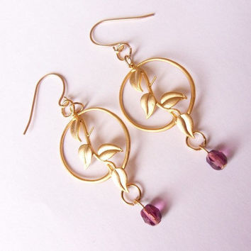 gold plated earrings, leaf earrings, purple crystal beads earrings, evening earrings, dangling earrings by SABOTAGEandCO