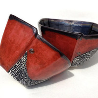 Red and Black Full Sized Soup Bowl with Carvings Set of 2.  Great for soup, pasta & snacks. One of a kind. 6.25 w X 3.5 tall.  Food safe