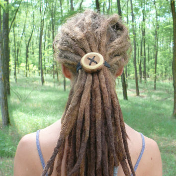 Dreadlock accessory - giant wooden hair button - hair accessories, dread accessory and more - handmade and customized
