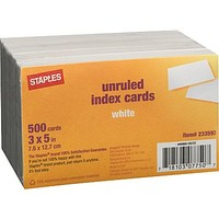 Staples® 3 x 5 Unruled White Index Cards, 500/Pack