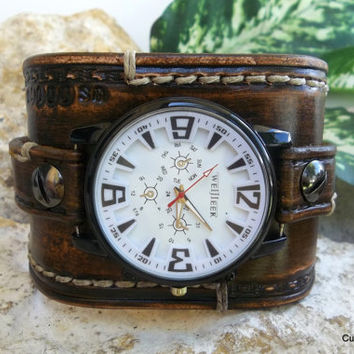 Mens leather watch cuff, Antique brown leather wrist watch, men's leather cuff, watch bracelet