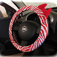 by (CoverWheel) Steering wheel cover for wheel car accessories zebra red wheel cover with red bow