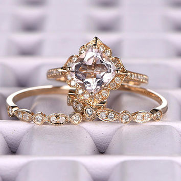 3pcs Morganite Bridal Ring Set,Engagement ring Yellow gold,Diamond wedding band,14k,7mm Cushion Cut,Promise,Retro Vintage Floral,Art Deco