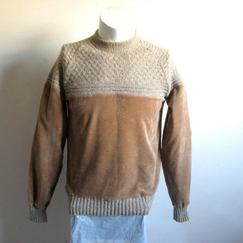 Vintage 1970s Velour Knit Mens Top Sears Fawn Brown Velour Sport Men's Top XS