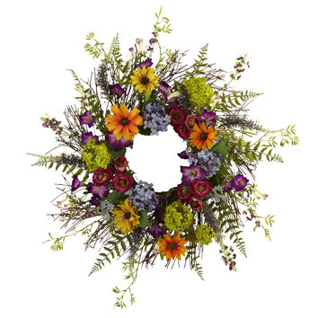 24in Spring Garden Wreath w/Twig Base
