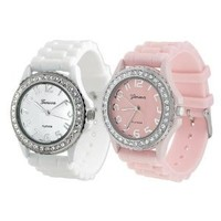 White/Pink Geneva Water Resistant Women's Rhinestone-accented Silicone Watch (Set of 2)