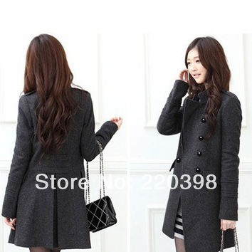 New 2014 Hot Korean Fashion Womens Slim Double-Breasted Winter Wool Blends Frock Coat Warmly Windproof Jacket 8040