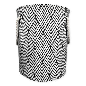 Canvas Fabric Hamper in Black/White