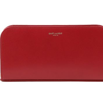 Saint Laurent YSL Classic Women's Red Rouge Orient Calfskin Leather Full Zip Wallet 326599