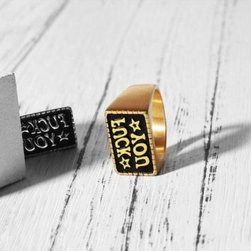 LMFON Minimalism Creative Simple Fashion Unisex Letter Ring Couple Little Finger Ring
