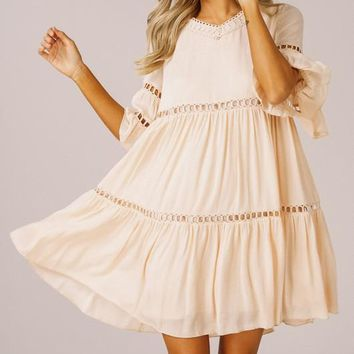 Bell Sleeve Boho Dress - Blush